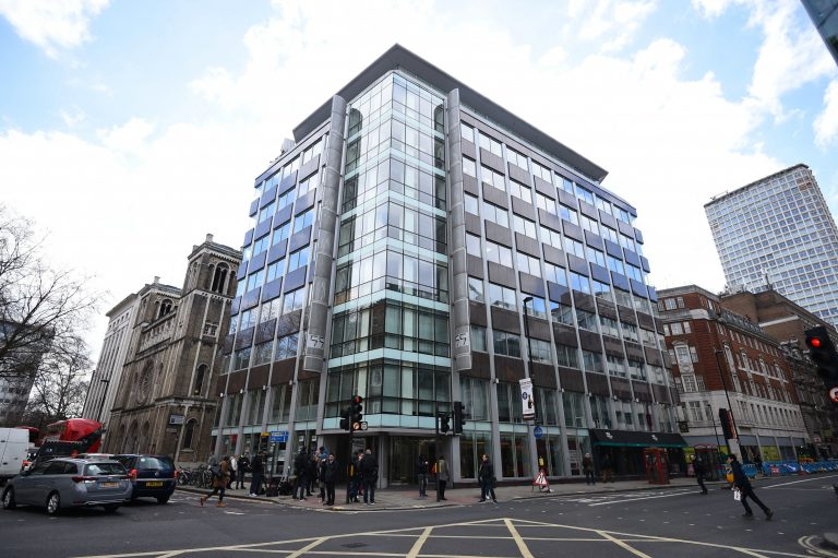 The offices of Cambridge Analytica (CA) in central London, after it was announced that Britain's information commissioner Elizabeth Denham is pursuing a warrant to search Cambridge Analytica's computer servers, Tuesday March 20, 2018. (Kirsty O'Connor/PA via AP)