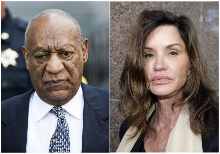 This combination of file photos shows Bill Cosby leaving Montgomery County Courthouse after a hearing in his sexual assault case in Norristown, Pa., on Aug. 22, 2017, left, and model Janice Dickinson leaving Los Angeles Superior Court after a judge ruled her defamation lawsuit against Bill Cosby on March 29, 2016. Prosecutors have revealed that Dickinson is one of the five additional accusers they plan to have testify at Cosby's sexual assault retrial. Prosecutors listed Dickinson in a letter informing Judge Steven O'Neill which women they planned to call at Cosby's April 2, 2018, retrial on charges he drugged and molested a woman in 2004. The letter was made public Wednesday, March 28 as an appeals court rejected Cosby's bid to challenge O'Neill's decision allowing the women to testify. (AP Photo, Files)