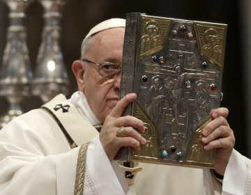 Pope Francis celebrates a Chrism Mass inside St. Peter's Basilica, at the Vatican, Thursday, March 29, 2018. During the Mass the pontiff blesses a token amount of oil that will be used to administer the sacraments for the year. (Gregorio Borgia/AP Photo)