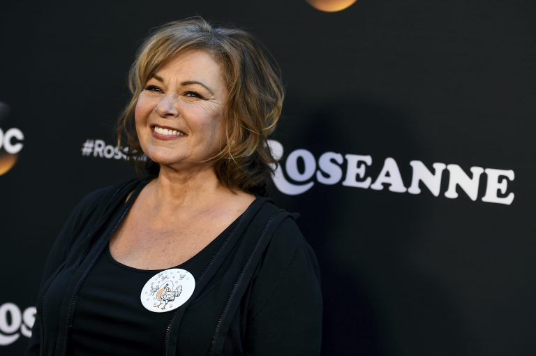 In this March 23, 2018, file photo, Roseanne Barr arrives at the Los Angeles premiere of
