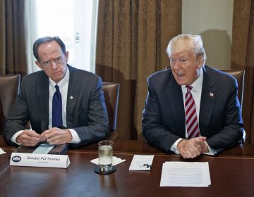 In this file photo, Sen. Pat Toomey, R-Pa. listens as President Donald Trump speaks during a meeting with lawmakers about trade policy in the Cabinet Room of the White House, Tuesday, Feb. 13, 2018, in Washington. (Evan Vucci/AP Photo, file)