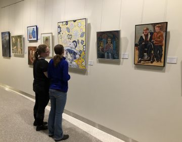 Beyond the Diagnosis, a traveling art exhibit, with more than 100 paintings, is at Nemours Alfred I. duPont Hospital for Children near Wilmington through March 13. (Shirley Min/WHYY)