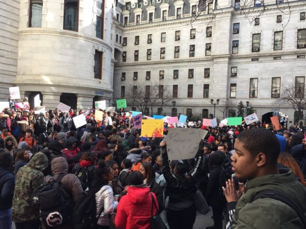 Students fill the courtyard at Philly City Hall during the walkout.