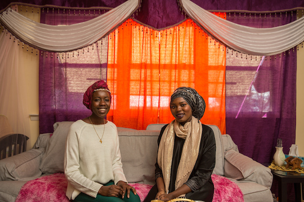 Emi and Afaq Mahmoud,  sisters whose childhoods were spend constantly fleeing persecution. Emi was born in Sudan; Afaq in Yemen. They both living in Philadelphia, now. (Dave Tavni)
