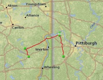 The route of the Falcon Ethane Pipeline through Ohio, West Virginia, and Pennsylvania. (Fractracker Alliance)