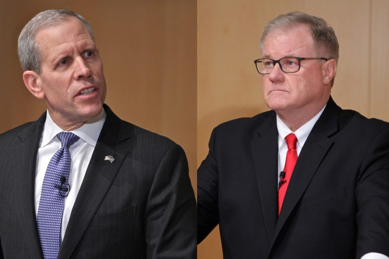 Republican candidates for governor of Pennsylvania, Paul Mango, (left), and Scott Wagner, (right), participate in a debate at the National Constitution Center. (Emma Lee/WHYY, file)