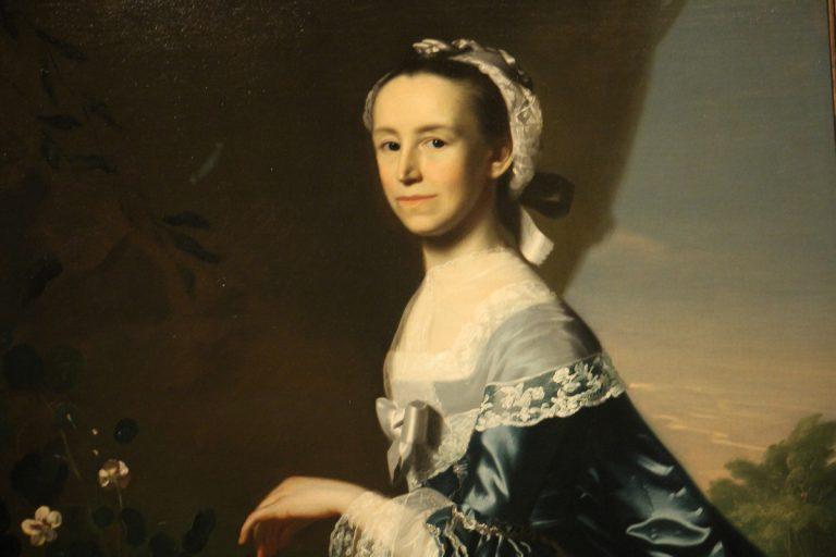 """A detail from John Singleton Copley's """"Mrs. James Warren (Mercy Otis)"""