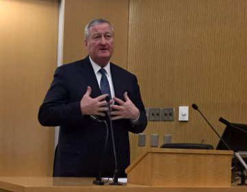 Philadelphia Mayor Jim Kenney speaks Wednesday during a forum with representatives of the American Pain Association at Temple University's Katz School of Medicine. The event was part of a national tour to highlight causes — and solutions — to the opioid epidemic. (Kyrie Greenberg/WHYY)