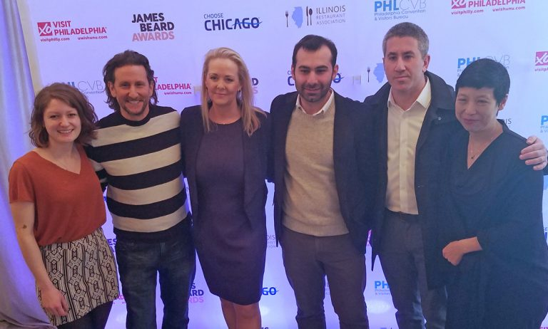 Local James Beard nominees (from left) Camille Cogswell, Zahav, Rising Star Chef of the Year; Rich Landau, Vedge, Best Chef Mid-Atlantic; Claire Reichenbach, CEO James Beard Foundation; Okan Yacici, Zahav, General Manager, Outstanding Service; Michael Solomonov, Zahav; Ellen Yin, Fork, Outstanding Restaurateur (Peter Crimmins/WHYY)