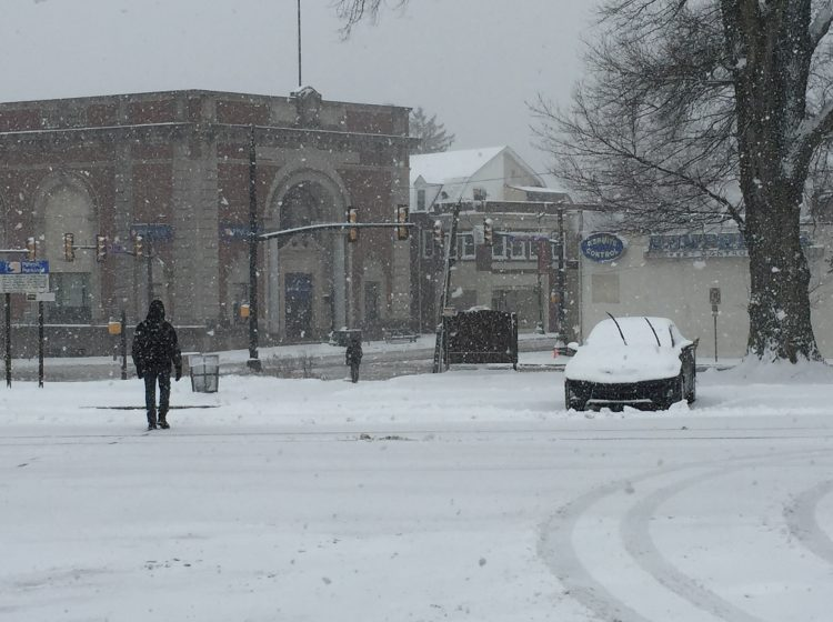The Glenside Train Station, typically packed with parked cars, was nearly deserted Wednesday (Nora O'Dowd/WHYY)