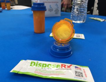 Walmart pharmacies are now distributing packets of DisposeRx, a powder designed to keep unused opioid medication from creating future addicts. (Mark Eichmann/WHYY)