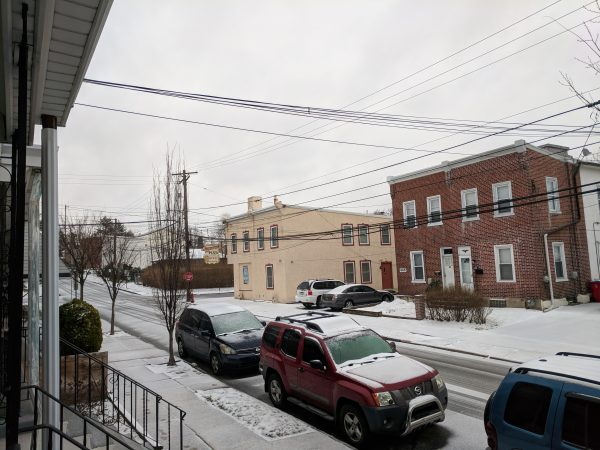 Freezing rain is accumulating on the roads in Norristown, Montgomery County.