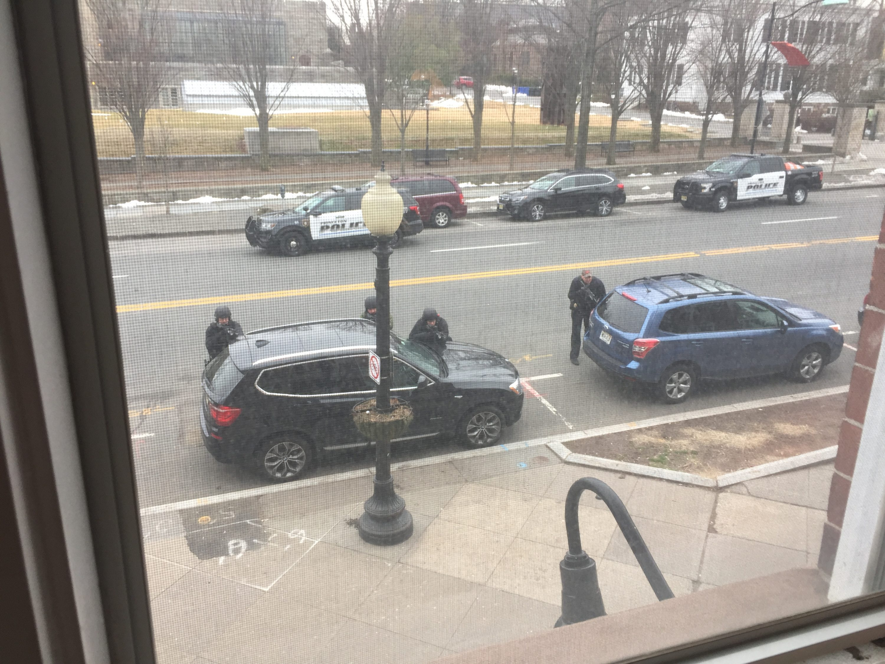 The view from the second floor, above the Panera, as police show up on the scene.
