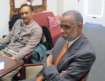 State Sen. Art Haywood, D-Philadelphia, listens to his constituents lobby him about renewable energy proposals. (Susan Phillips/StateImpact Pennsylvania)