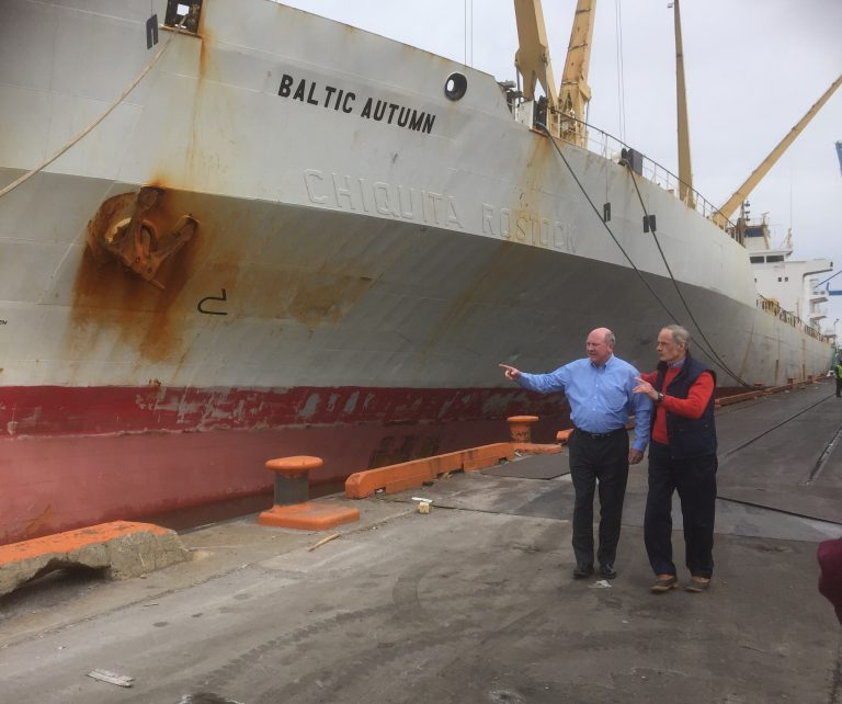 U.S. Sen. Tom Carper, D-Delaware, and Assistant Secretary of the Army for Civil Works R.D. James toured the Port of Wilmington Tuesday afternoon. (Zoe Read/WHYY)