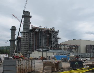 A natural gas power plant under construction in Bradford County, Pa. (Marie Cusick/StateImpact Pennsylvania)
