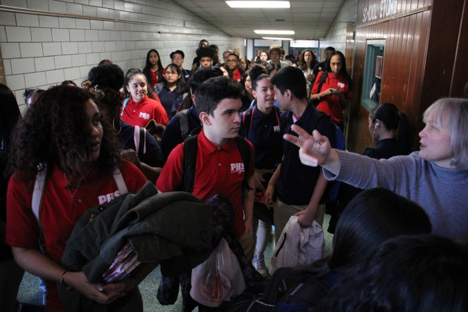 Students walk out of their classrooms at Pennsauken High School in solidarity with the victims of the Parkland, Florida, school shootings.