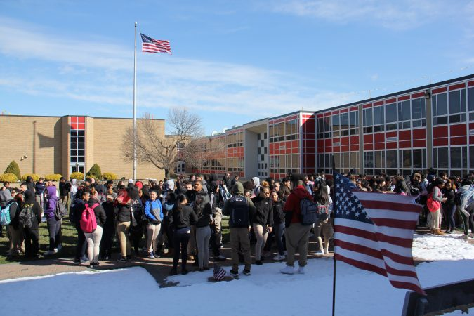 About 600 Pennsauken High students, nearly half the school, participate in a walkout to remember the Parkland school shooting victims.