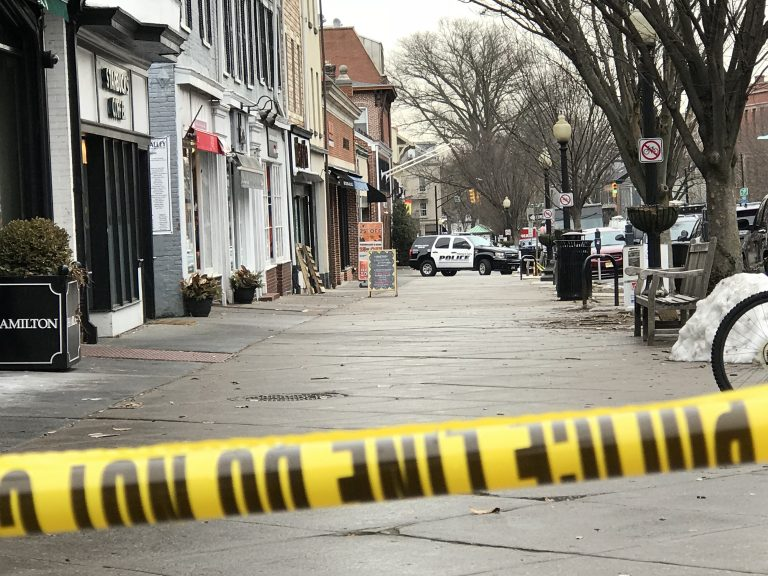 Police in Princeton, N.J. have closed Nassau Street between Washington Road and Witherspoon Street after a person with a gun entered the Panera restaurant there. (Dana Difilippo/WHYY)