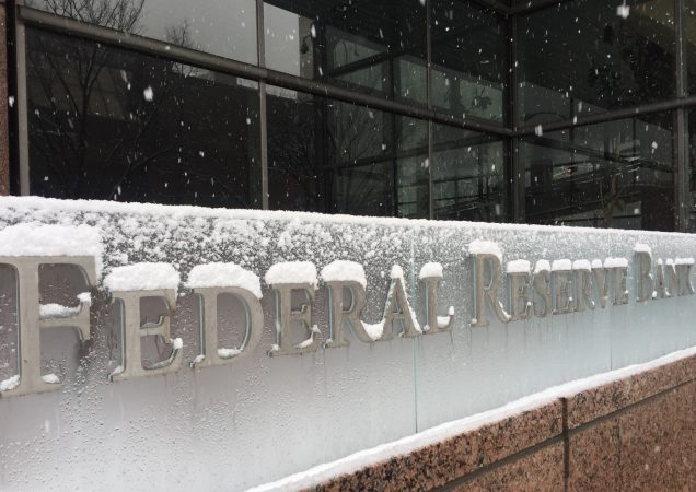 A snowy scene at the Federal Reserve in Philadelphia (Alan Tu/WHYY)