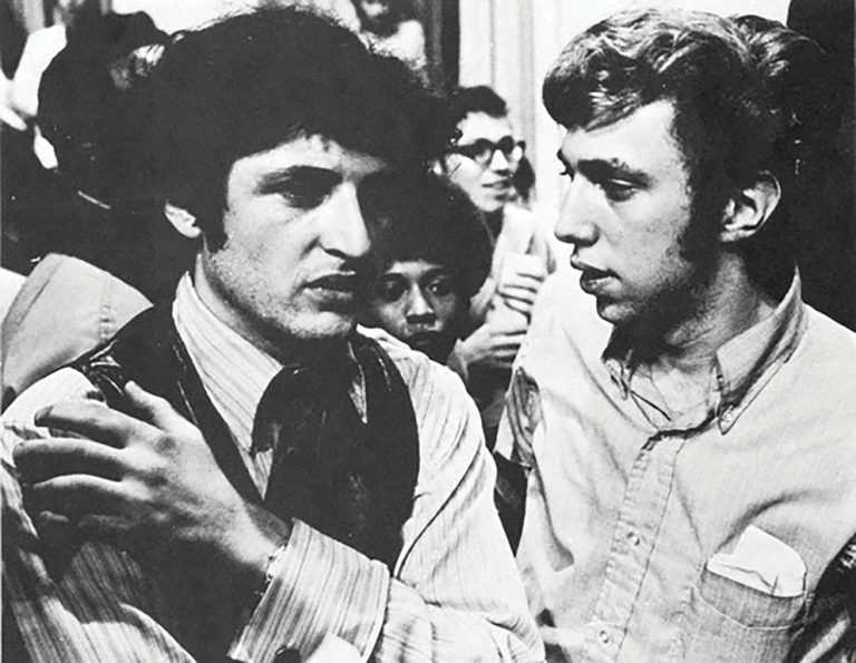 Sociology professor Phillip Pochoda (left) and student leader Ira Harkavy during the 1969 Penn sit-in in College Hall.