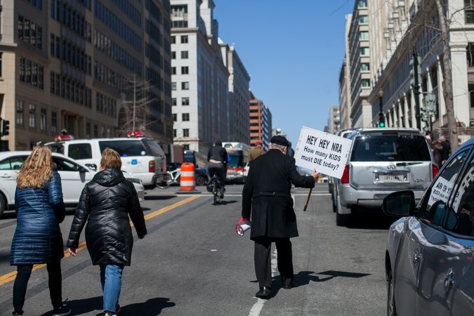 Demonstrators head away from the March for Our Lives Saturday afternoon in Washington D.C. (Brad Larrison for WHYY)