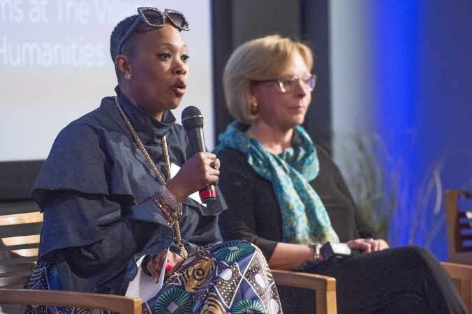 Panelist Lynette Medley (left) and Marci Hamilton answer questions from the audience. (Jonathan Wilson for WHYY)