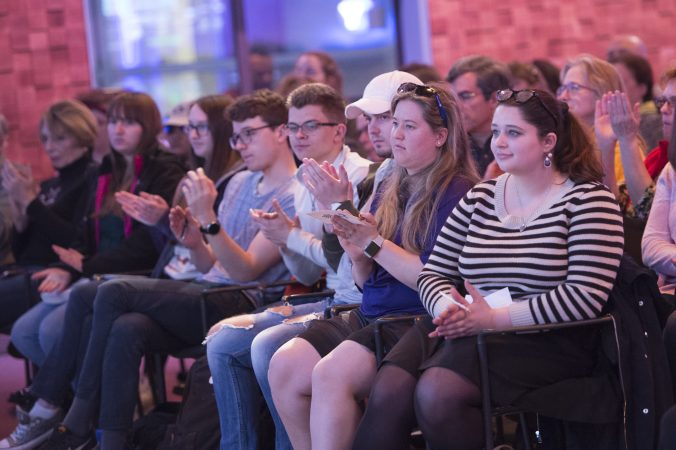 Audience members applaud panelists at the conclusion of the program. (Jonathan Wilson for WHYY)