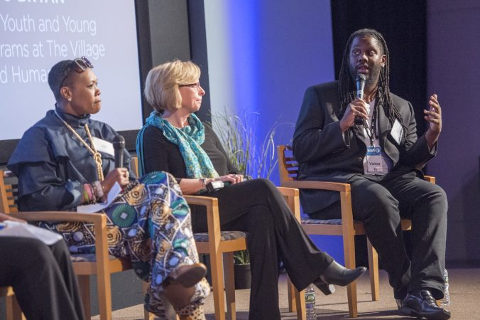 Lynette Medley, (left), and Marci Hamilton, (center), listen to Michael O'Bryan during panel discussion. (Jonathan Wilson for WHYY)