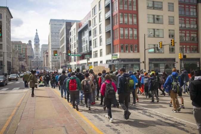 Philadelphia students participate in a national school walkout commemorating the one month anniversary of Parkland, Fl. high school shooting