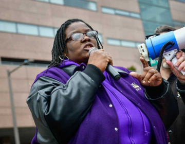 Charnel Brownlee participates in a Workers' Freedom March to protest efforts to weaken America's working families. The Feb. 24 march was one of 300 similar actions at works sites across the nation (SEIU 32BJ)