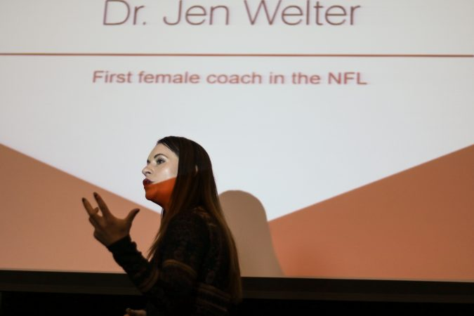 Jen Welter, the first woman to join an NFL team's coaching staff, addressed the crowd at a Women's Leadership Luncheon hosted by City Year Philadelphia (Angela Gervasi/for WHYY)