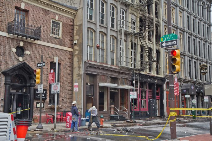 A photo of the area around the 4-alarm fire at 239 Chestnut St taken on Feb. 19, one day after the fire broke out. (Kimberly Paynter/WHYY)