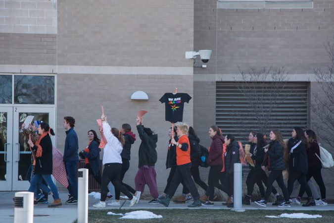 Hundreds of students from Lower Merion High School participated a national school walkout in protest of the ongoing gun violence that plagues the United States.