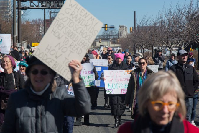 Thousands of citizens, of all ages, gathered together in Philadelphia to participate in the nationwide March for Our Lives, March 24, 2018. (Emily Cohen for WHYY)