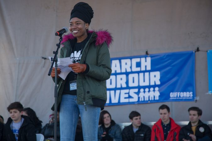 Camryn Cobia, who is a member of the Philadelphia Student Union, talks to the crowd gathered at the Philadelphia