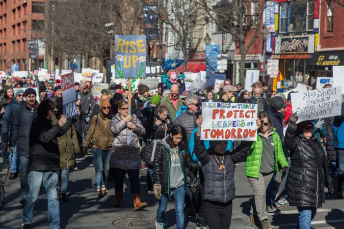 Thousands gather for the Philadelphia March for Our Lives, March 24, 2018. (Emily Cohen for WHYY)
