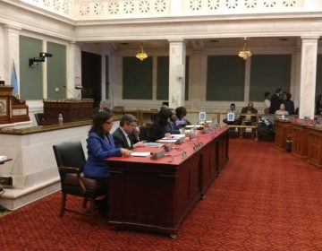 Philadelphia City Council members listen to hear testimony during a hearing on workplace issues. (Tom MacDonald/WHYY)