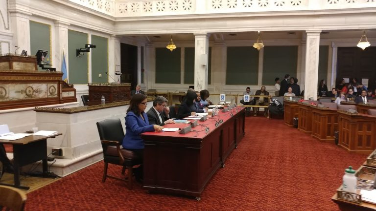 Philadelphia City Council members listen to testimony during a hearing on workplace issues. (Tom MacDonald/ WHYY)