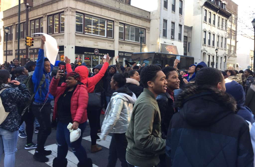Freire students flood the streets at 20th and Chestnut during the national school walkout.