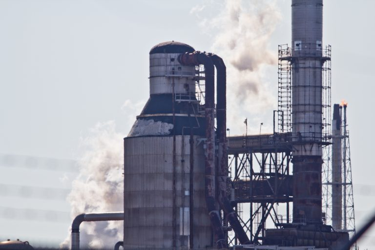 A smoke stack at the Philadelphia Energy Solutions refinery in Philadelphia. (Kimberly Paynter/WHYY)