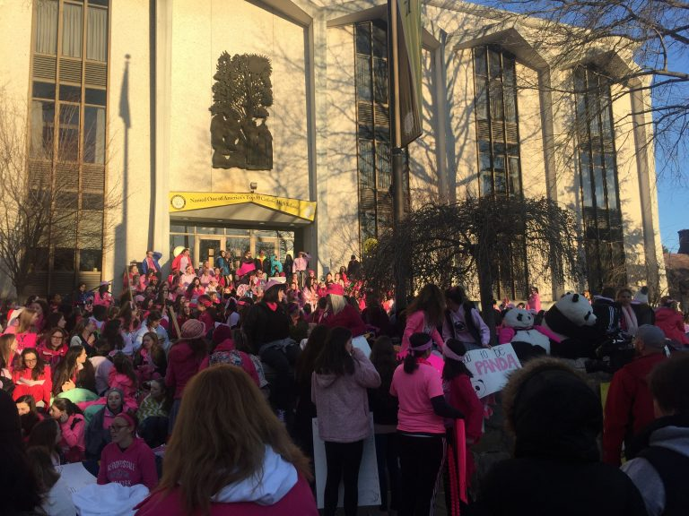 Hundreds of students and parents at Padua Academy protested the principal's sudden ouster Monday. (Cris Barrish/WHYY)