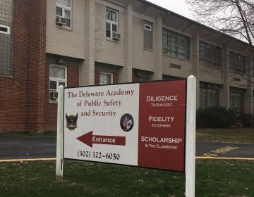 Delaware Academy for Public Safety and Security is under formal review by the state, but Colonial School District has offered a helpiing hand to help the school stay open. (Cris Barrish/WHYY)