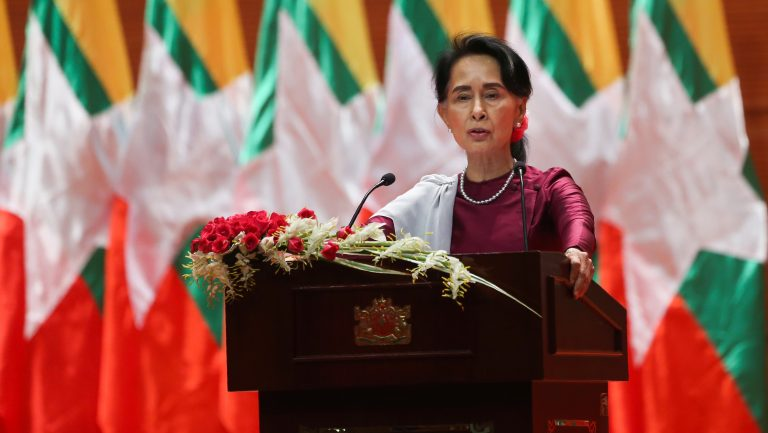 Myanmar State Counselor Aung San Suu Kyi, in a national address in September, said she felt deeply for the suffering of all people caught up in conflict scorching through Rakhine state — in her first comments that also mentioned Muslims displaced by violence. (Ye Aung Thu/AFP/Getty Images)