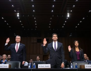 Acting Director of the Bureau of Alcohol, Tobacco, Firearms and Explosives Thomas Brandon (left), Acting Deputy Director of the Federal Bureau of Investigation David Bowdich (center) and U.S. Secret Service's National Threat Assessment Center head Lina Alathari are sworn in before testifying to the Senate Judiciary Committee on Wednesday. (Chip Somodevilla/Getty Images)