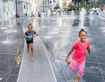 Girls play in Philadelphia's Dilworth Park (Center City District)