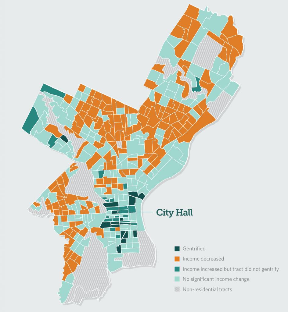 Income Change in Philadelphia Census Tracts, 2000-2014