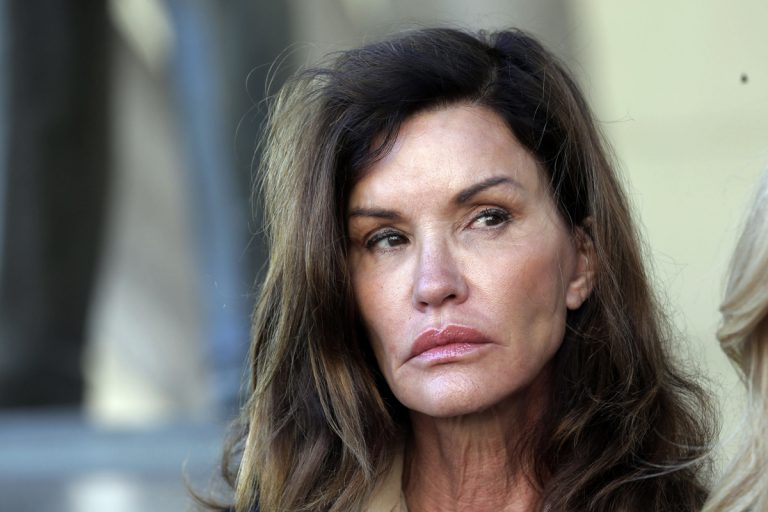 Model Janice Dickinson outside Los Angeles Superior Court in 2016