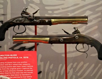 Replicas of the pistols used by Alexander Hamilton and Aaron Burr in their fatal duel.