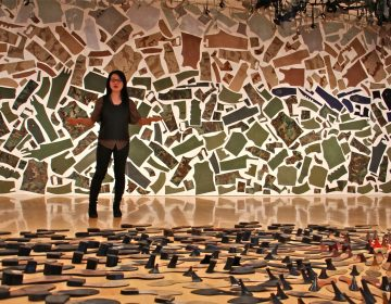Jean Shin uses discarded objects to create monumental artworks. She stands between